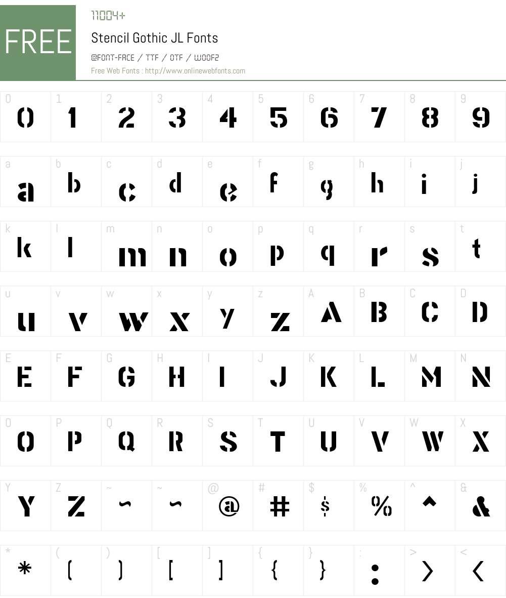 Stencil Gothic JL Font Screenshots