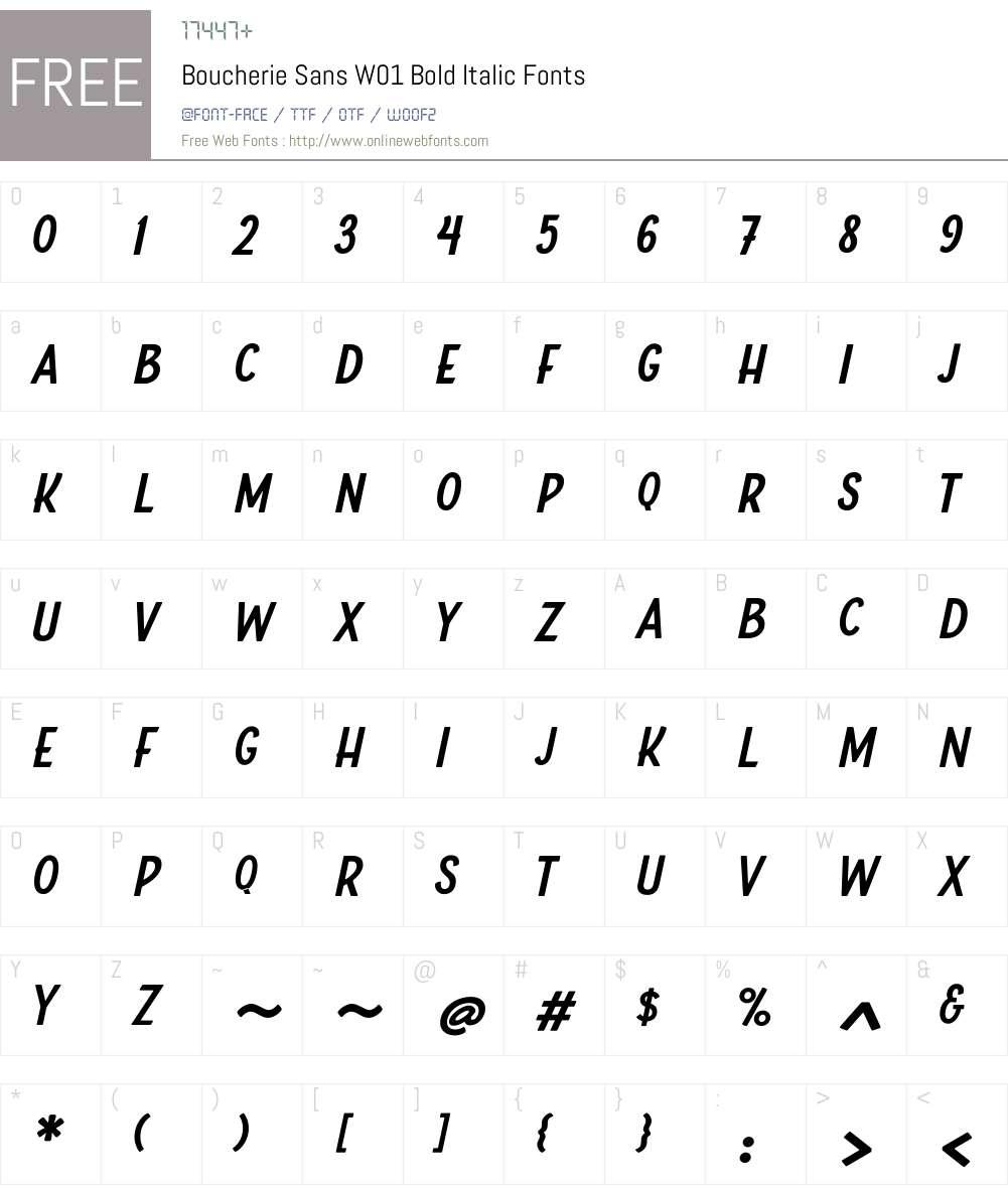 BoucherieSansW01-BoldItalic Font Screenshots
