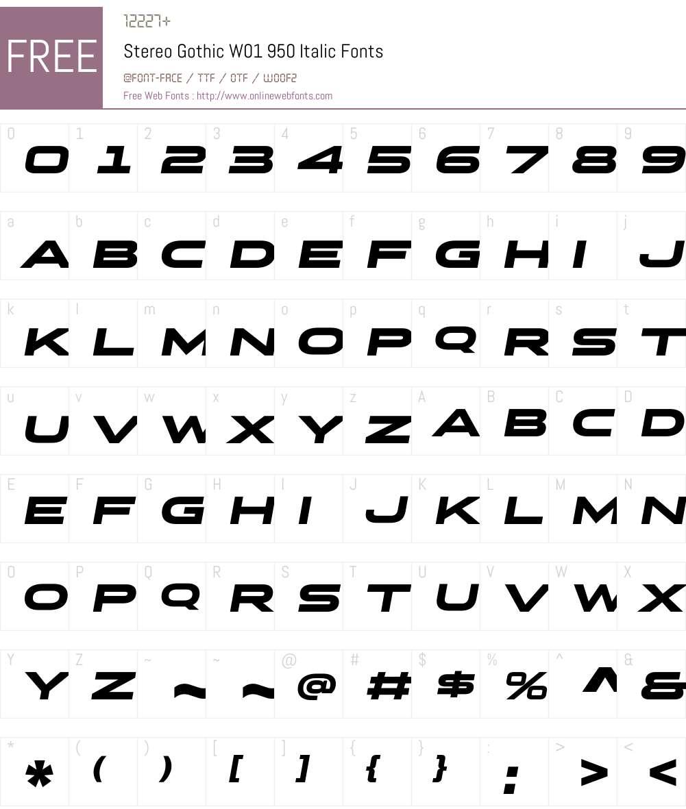 StereoGothicW01-950Italic Font Screenshots