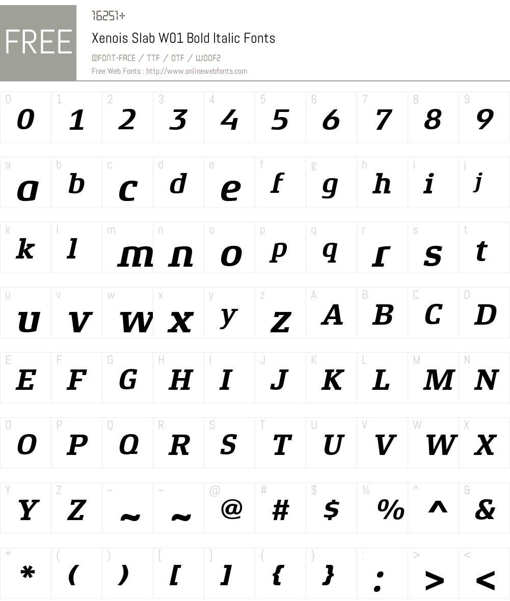 XenoisSlabW01-BoldItalic Font Screenshots