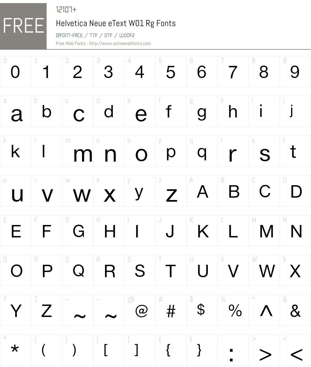 HelveticaNeueeTextW01-Rg Font Screenshots