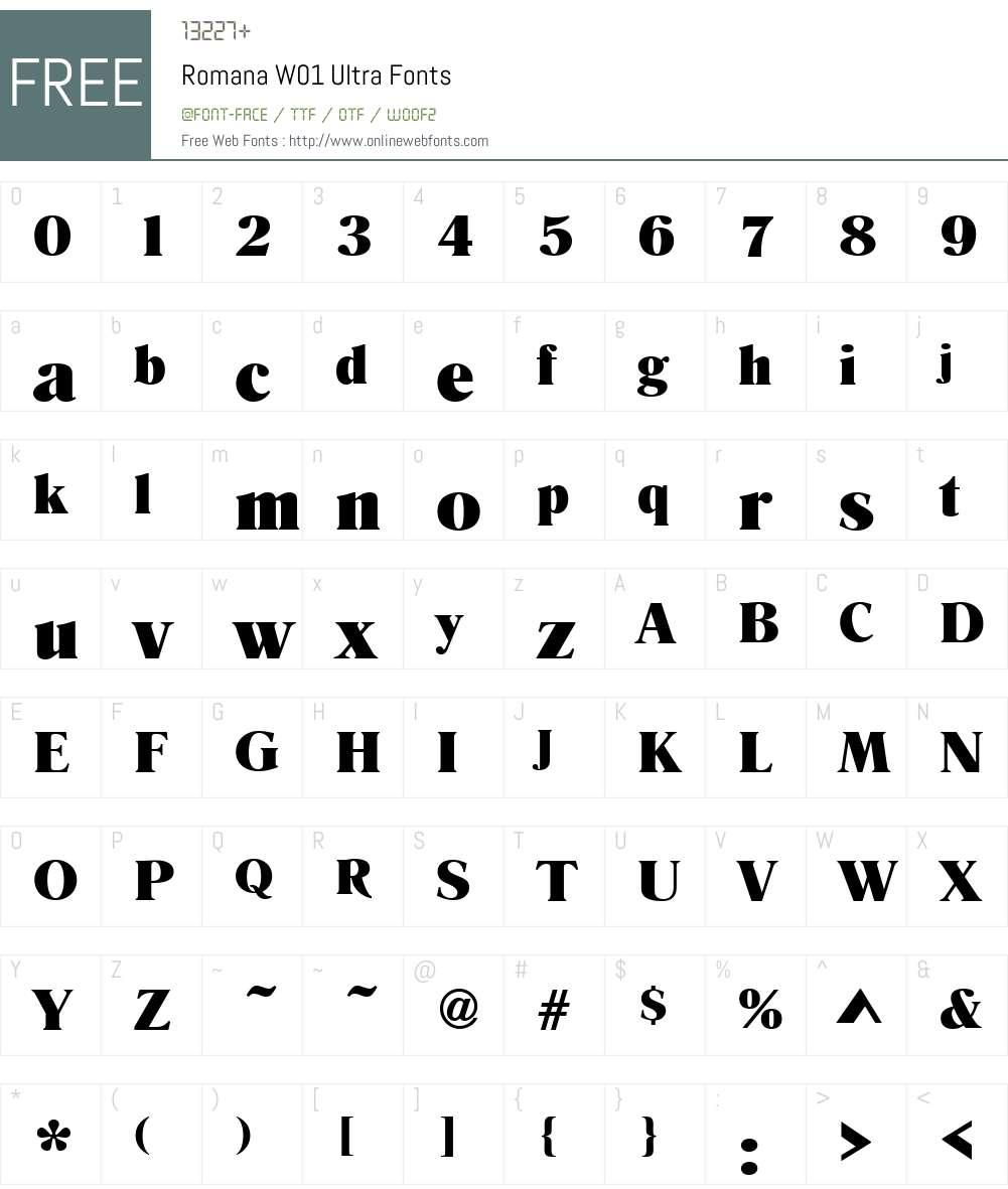 RomanaW01-Ultra Font Screenshots