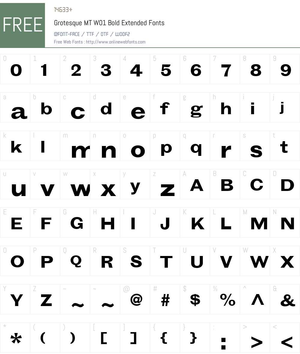GrotesqueMTW01-BoldExtended Font Screenshots