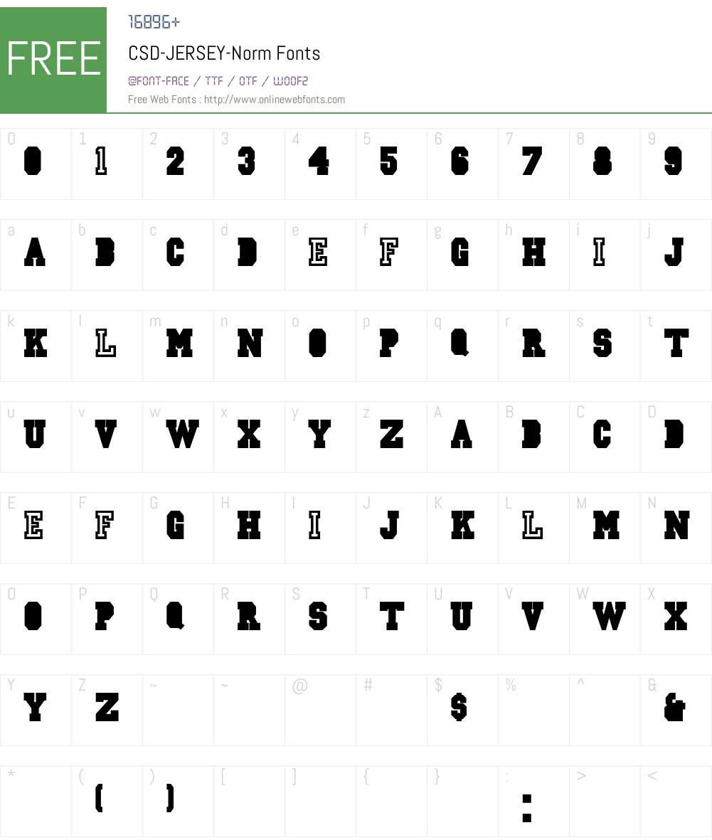CSD-JERSEY-Norm Font Screenshots