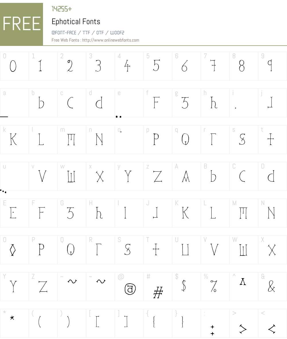 Ephotical Font Screenshots