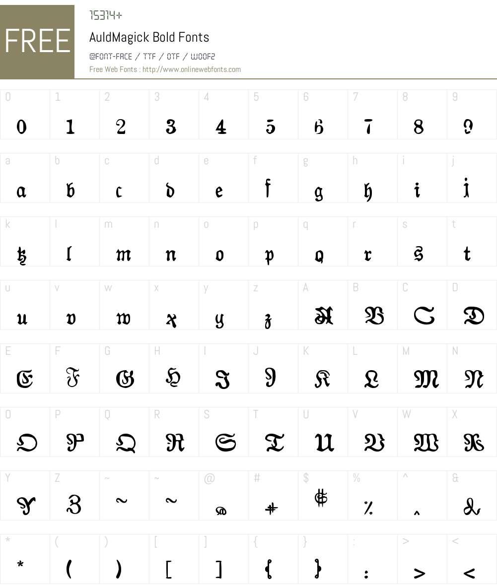 AuldMagick Bold Font Screenshots