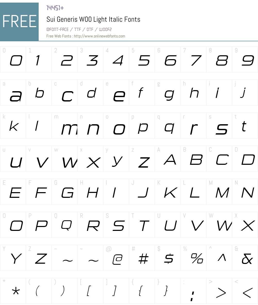 SuiGenerisW00-LightItalic Font Screenshots