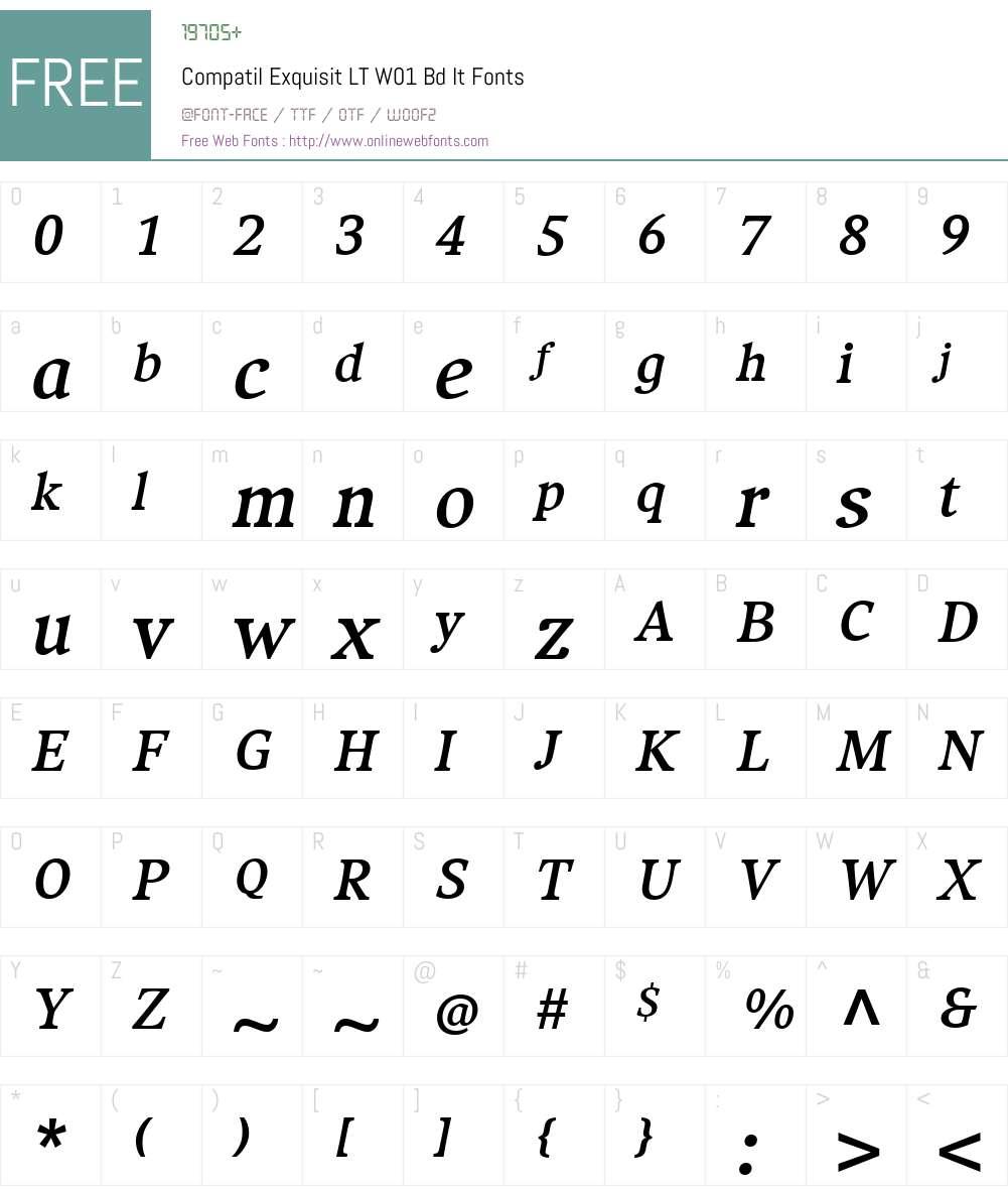 CompatilExquisitLTW01-BdIt Font Screenshots