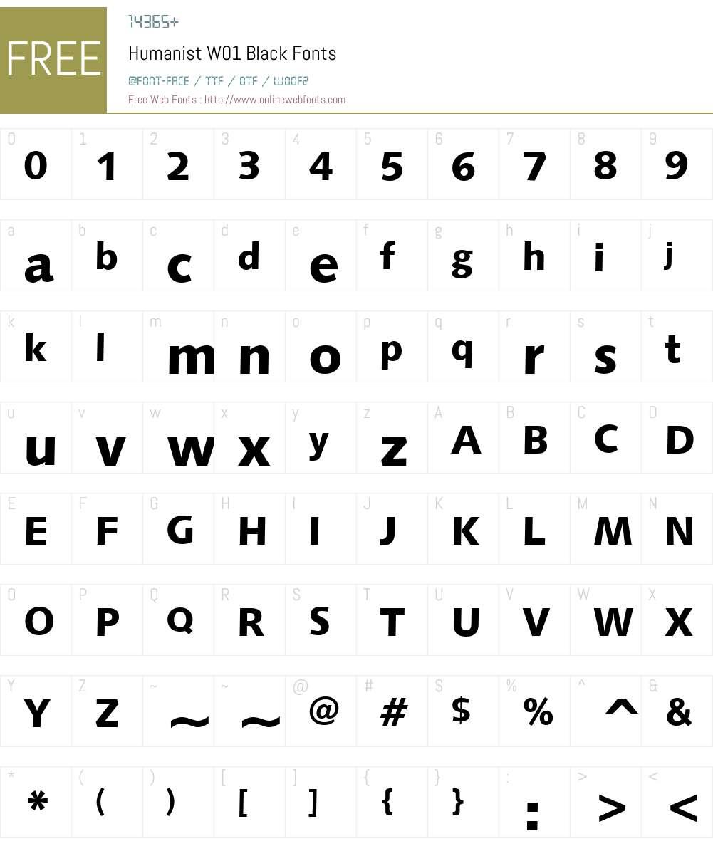 HumanistW01-Black Font Screenshots