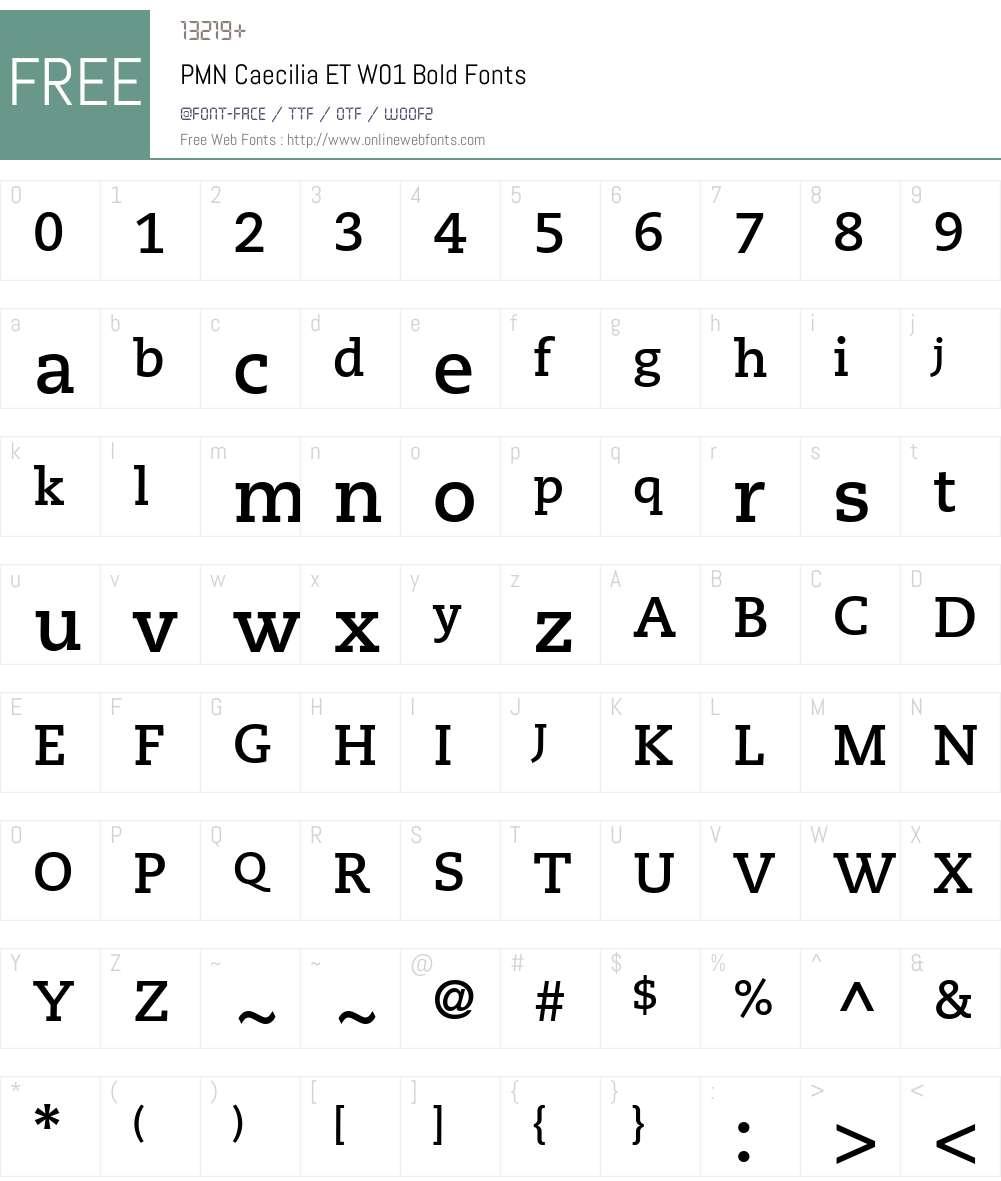 PMNCaeciliaETW01-Bold Font Screenshots
