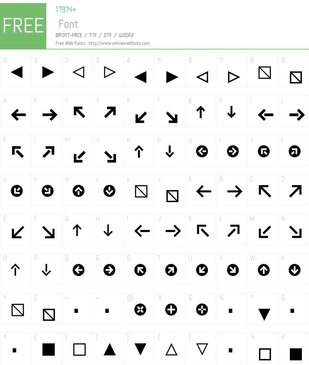 Klavika Arrows Font Screenshots