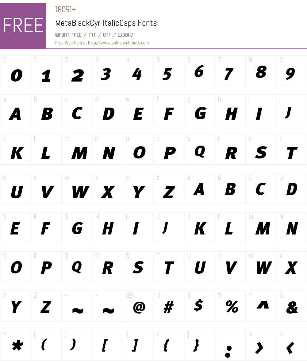 MetaBlackCyr-ItalicCaps Font Screenshots