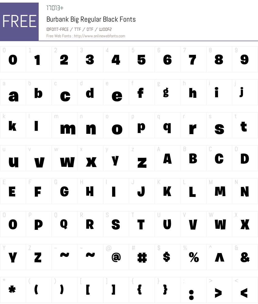 Burbank Big Regular Font Screenshots