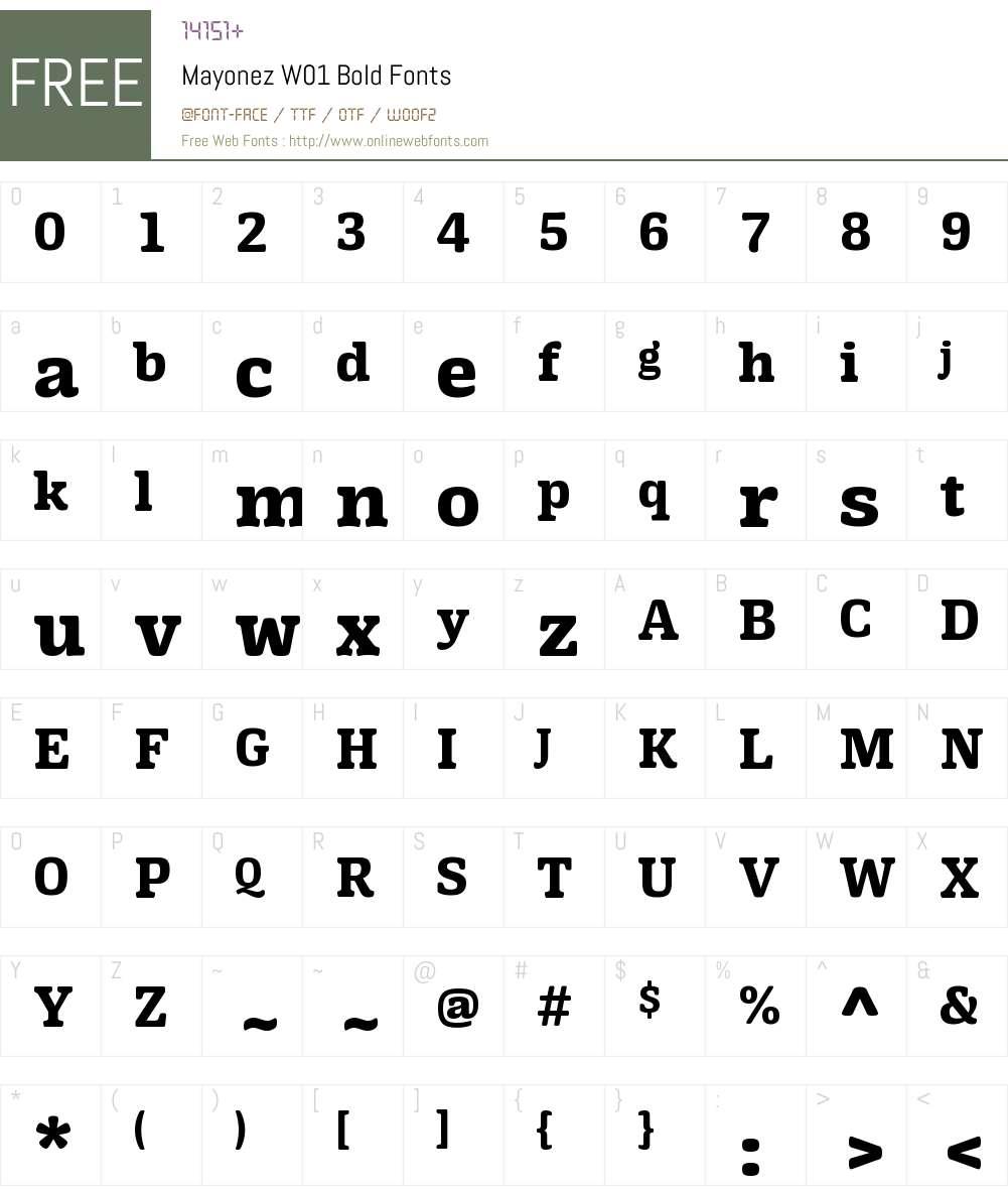 MayonezW01-Bold Font Screenshots
