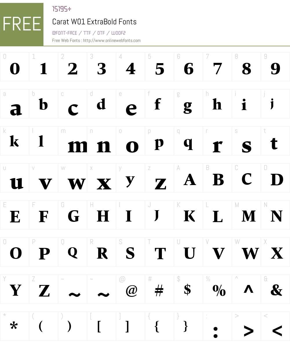 CaratW01-ExtraBold Font Screenshots