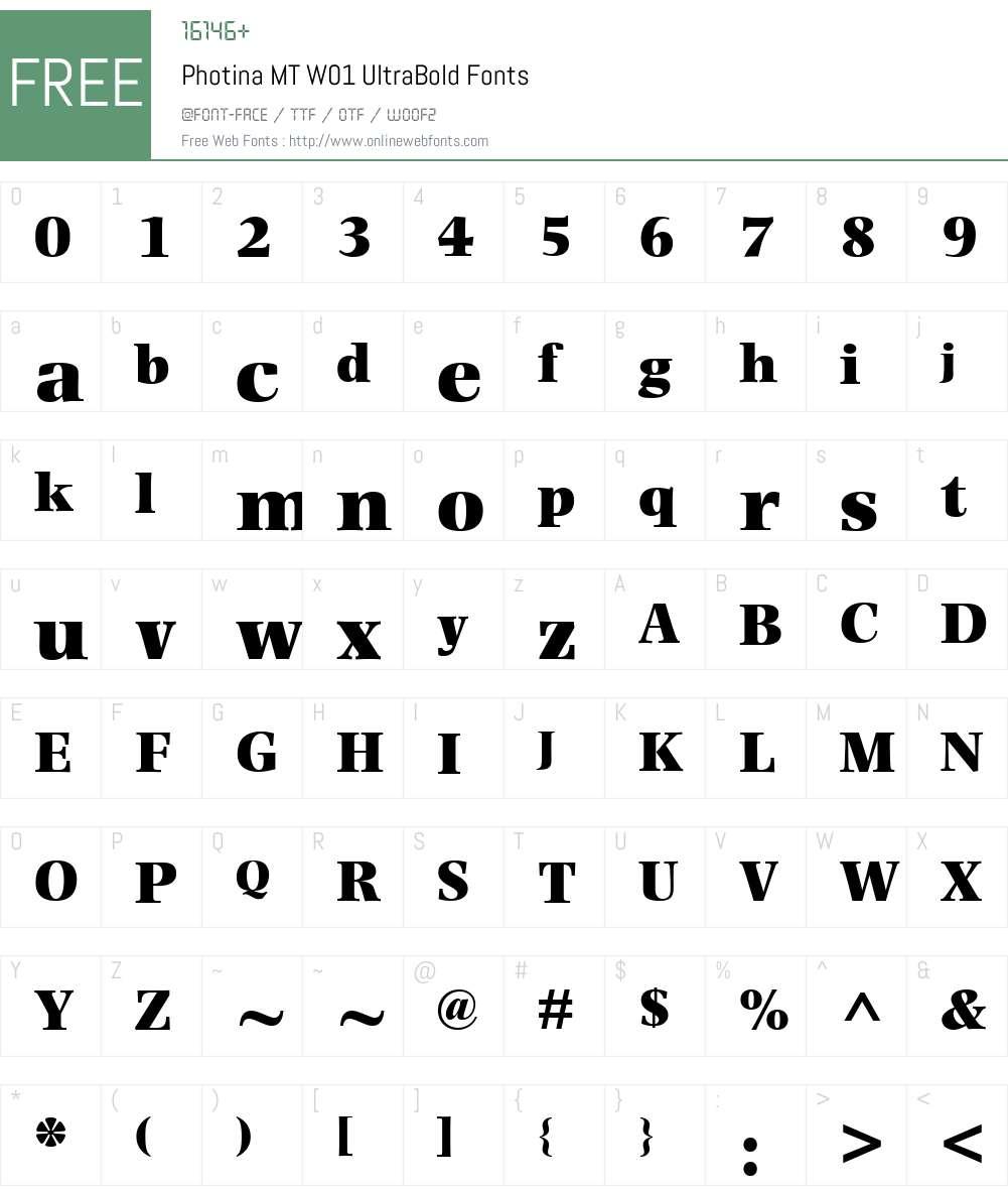 PhotinaMTW01-UltraBold Font Screenshots
