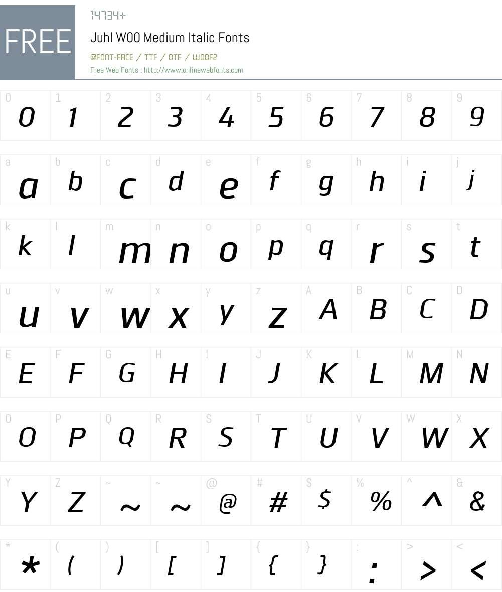 JuhlW00-MediumItalic Font Screenshots