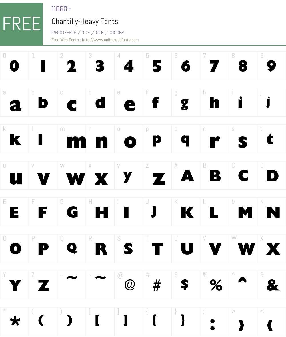 Chantilly-Heavy Font Screenshots