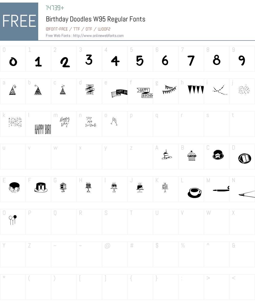 BirthdayDoodlesW95-Regular Font Screenshots