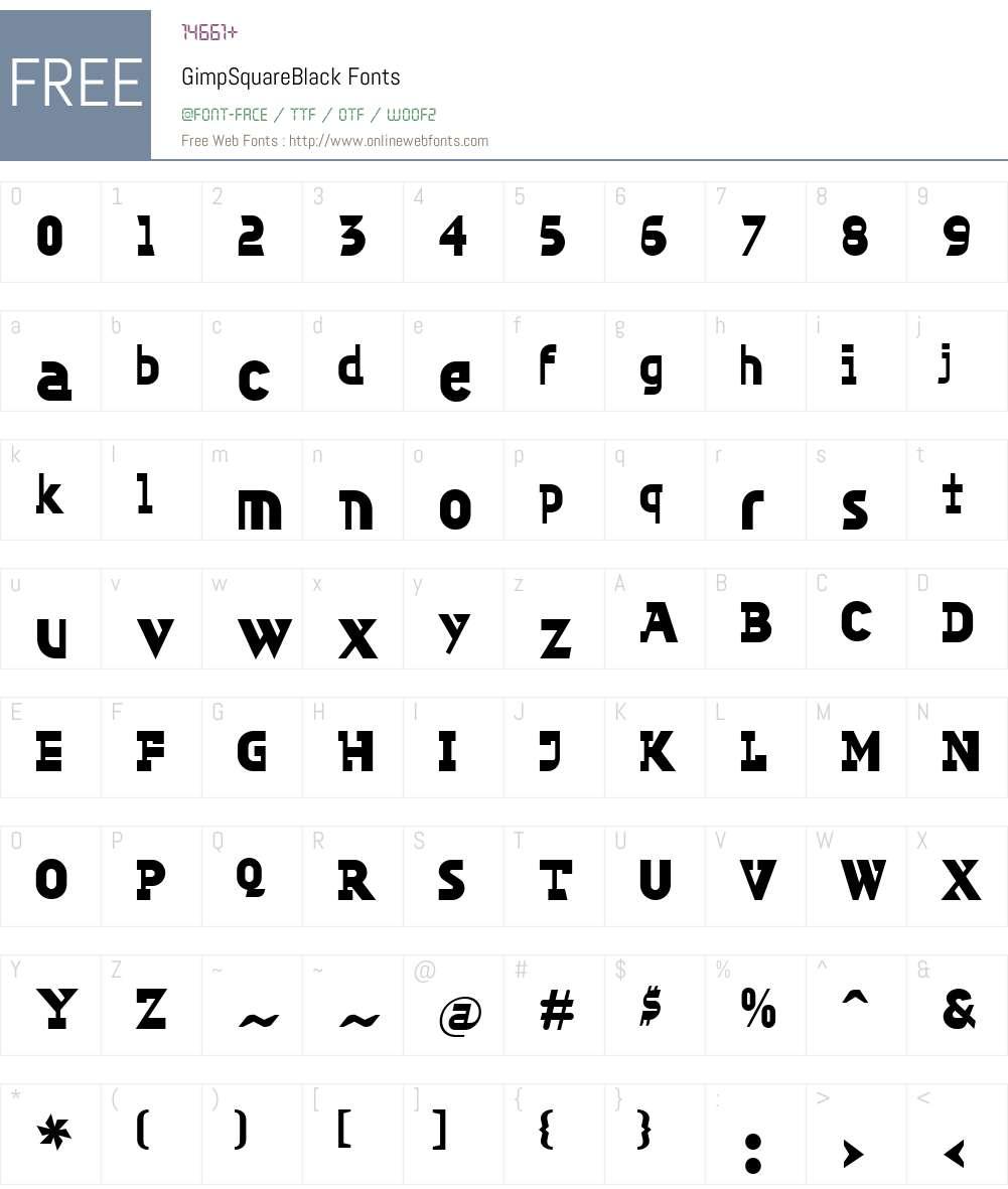GimpW00-SquareBlack Font Screenshots