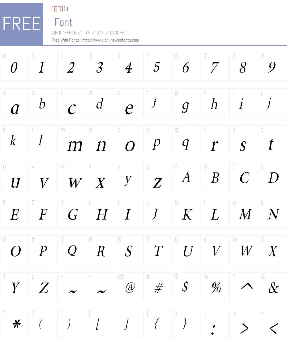 BeryliumW00-Italic Font Screenshots