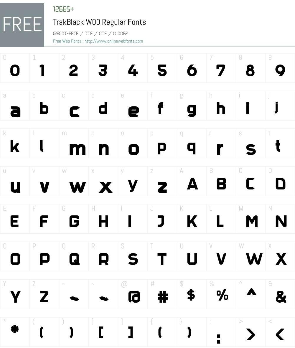 TrakBlack Font Screenshots