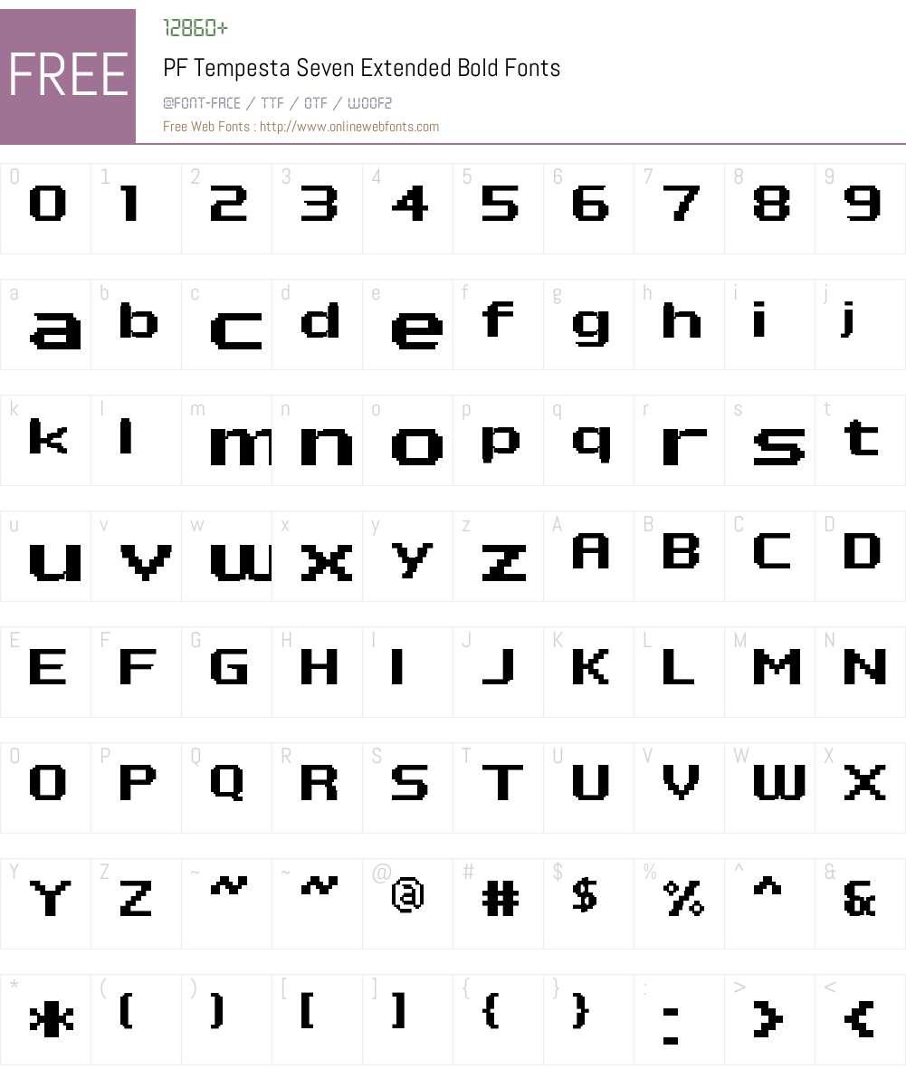PF Tempesta Seven Extended Font Screenshots