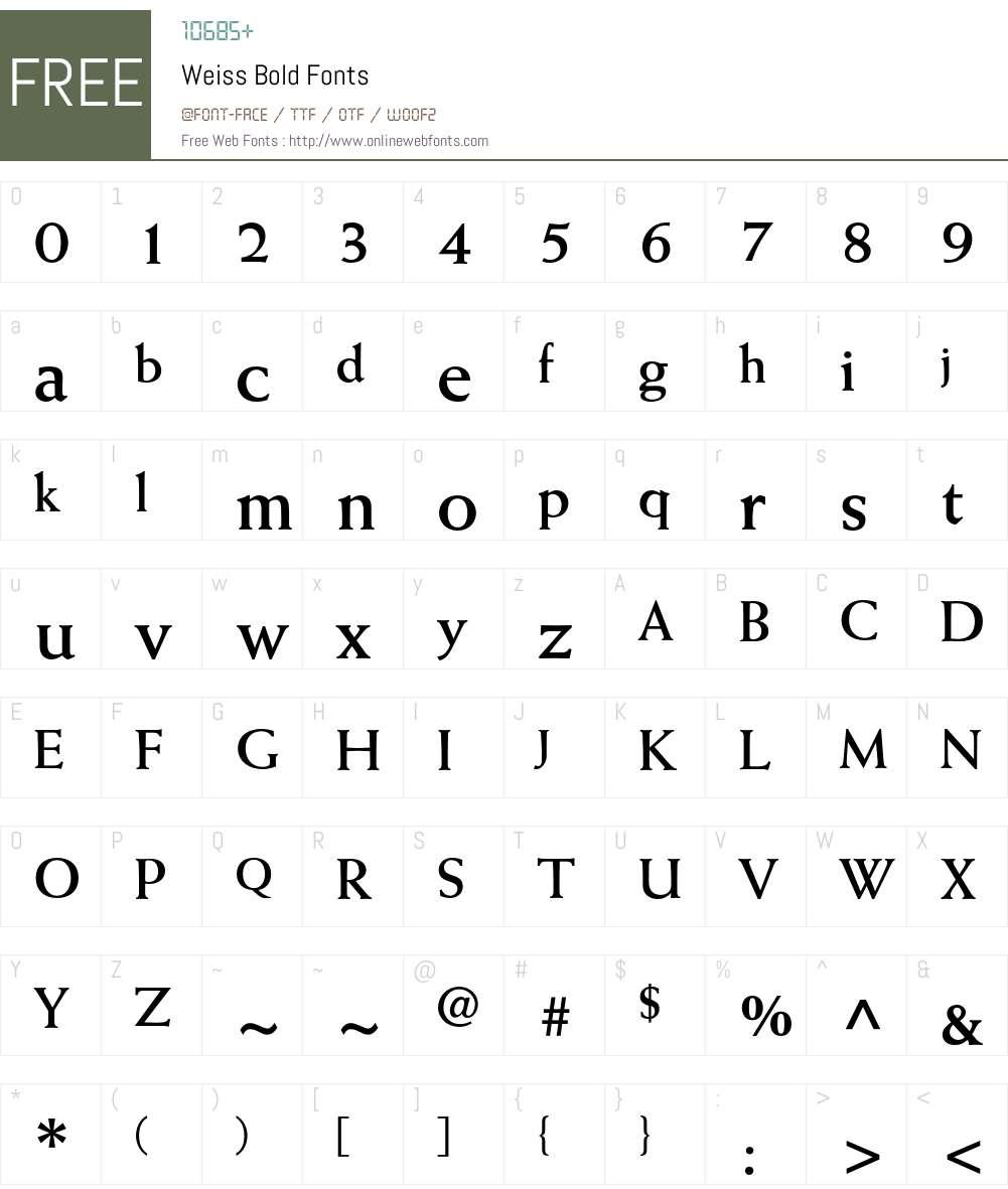 Weiss Font Screenshots