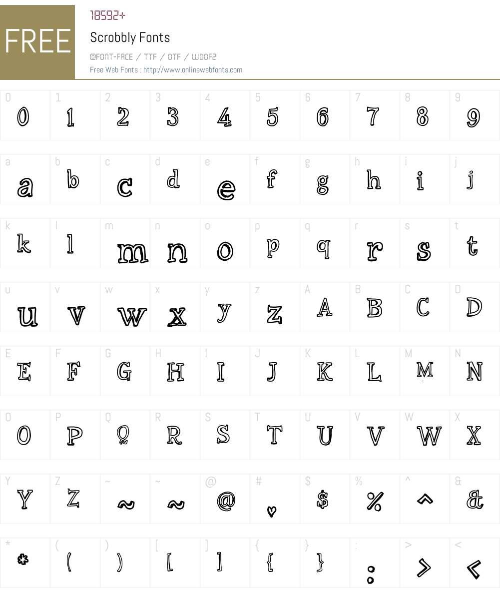 Scrobbly Font Screenshots