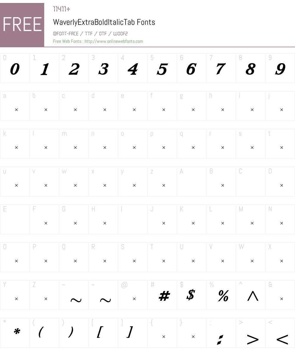 WaverlyExtraBoldItalicTab Font Screenshots