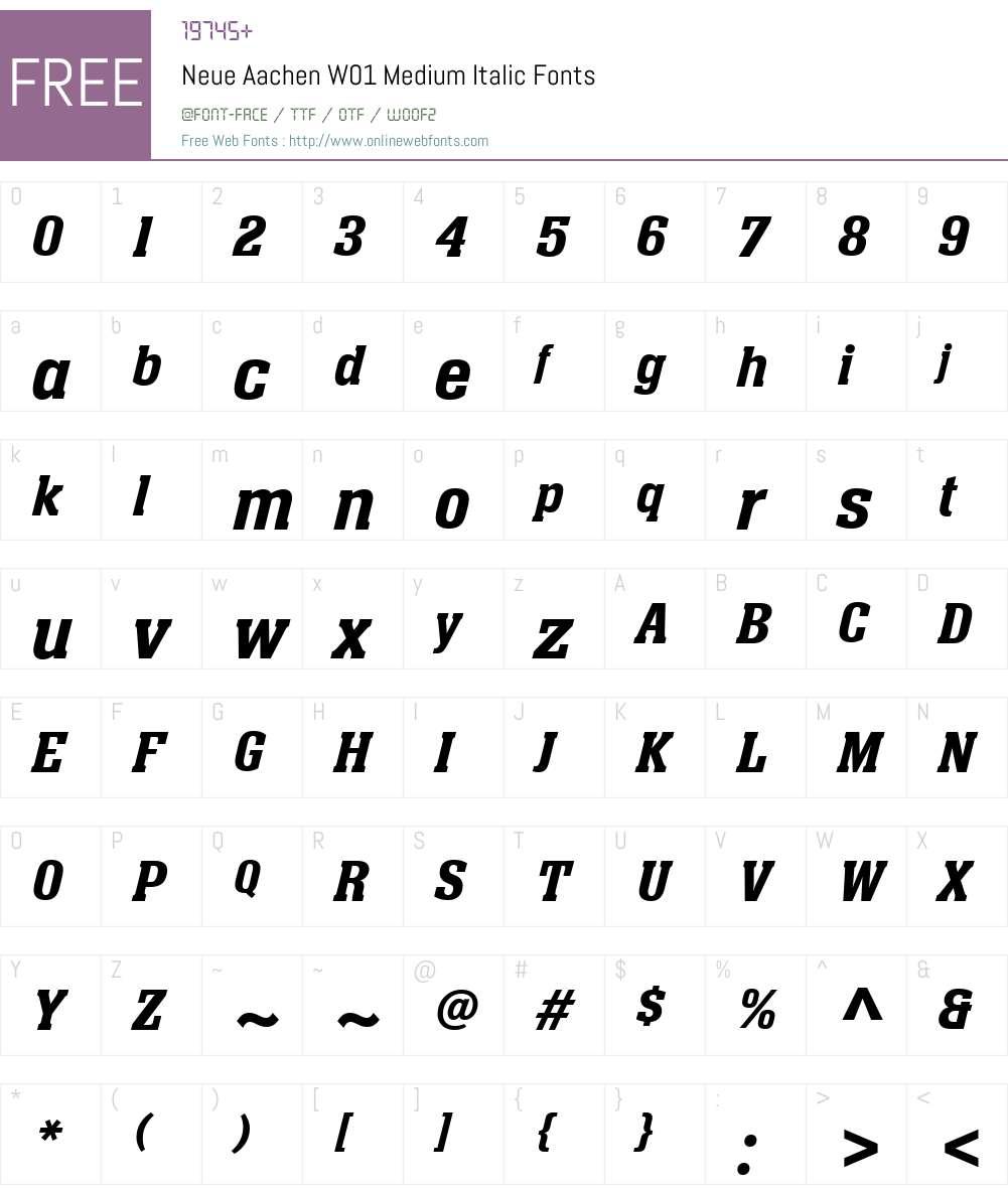 NeueAachenW01-MediumItalic Font Screenshots