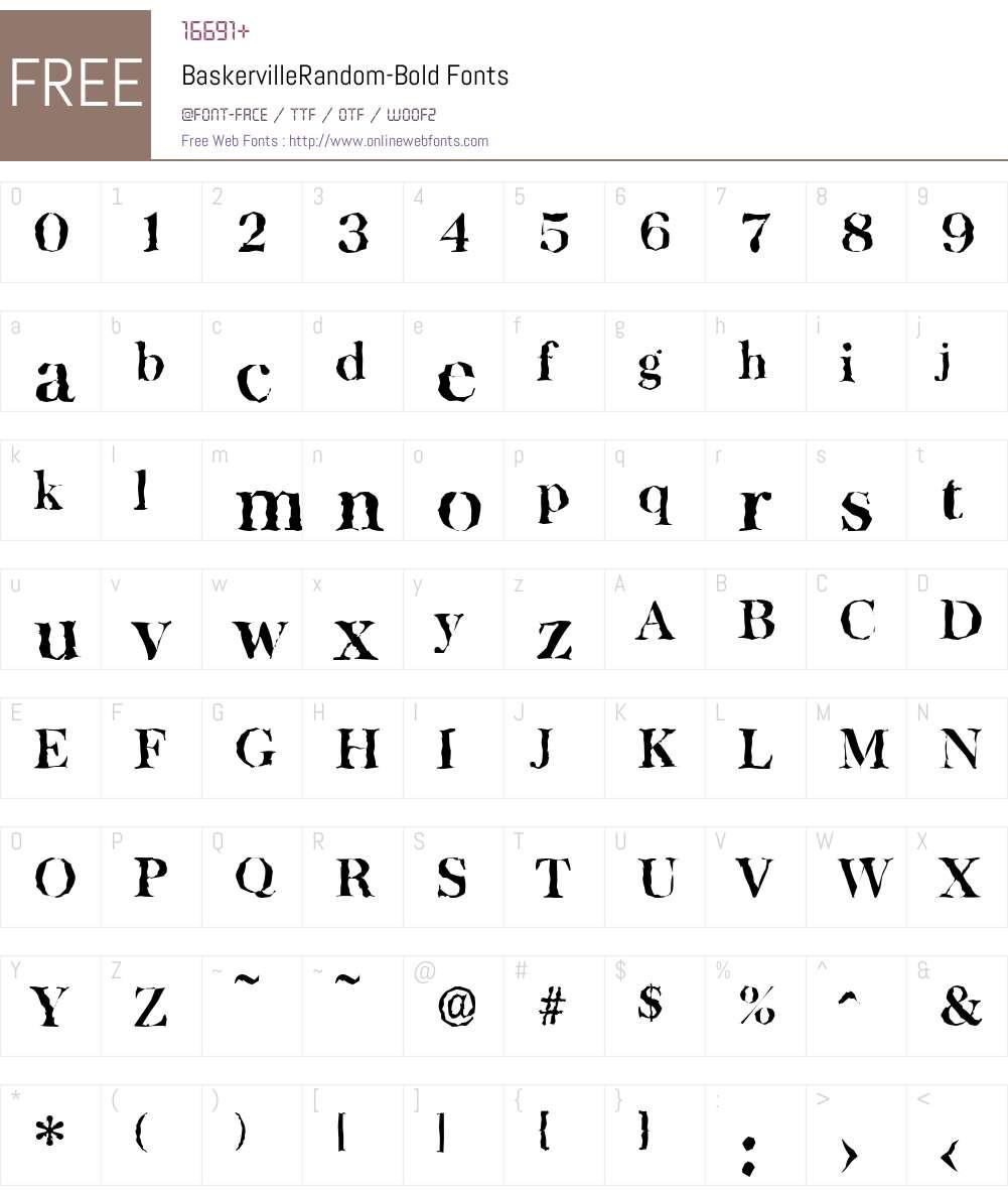 BaskervilleRandom Font Screenshots