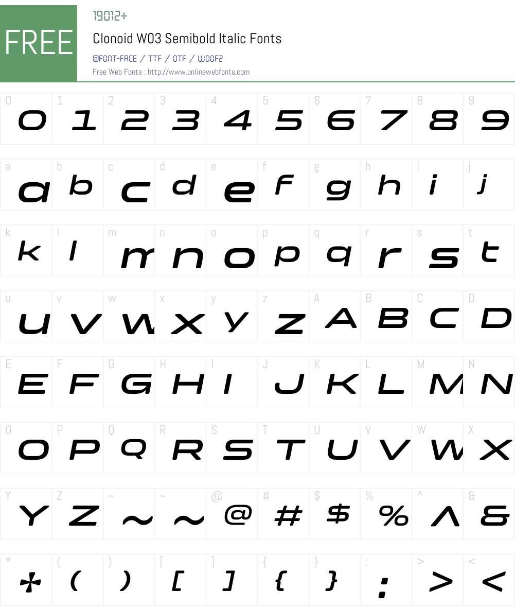 Clonoid Font Screenshots