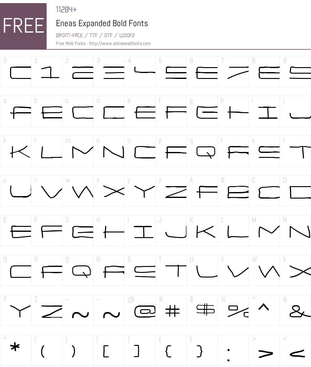 Eneas Expanded Bold Font Screenshots