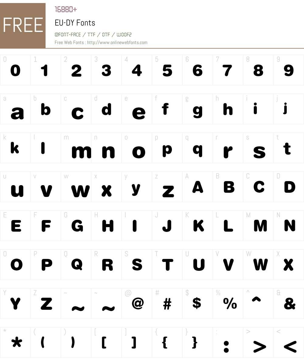 EU-DY Font Screenshots