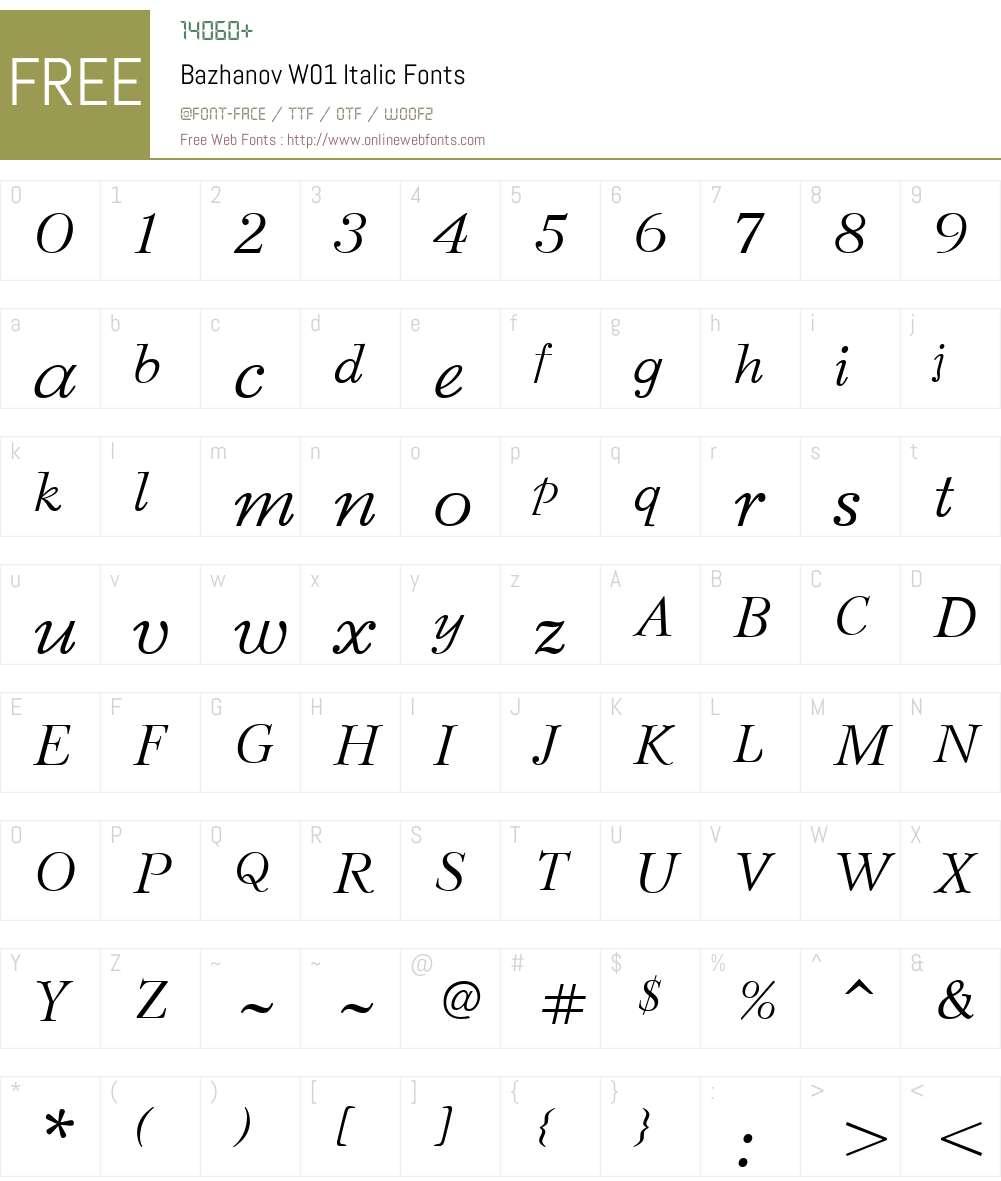 BazhanovW01-Italic Font Screenshots