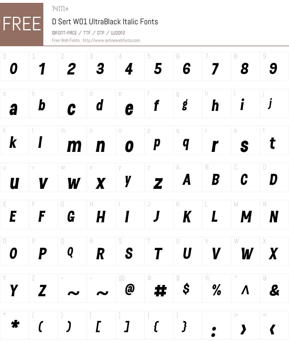 DSertW01-UltraBlackItalic Font Screenshots