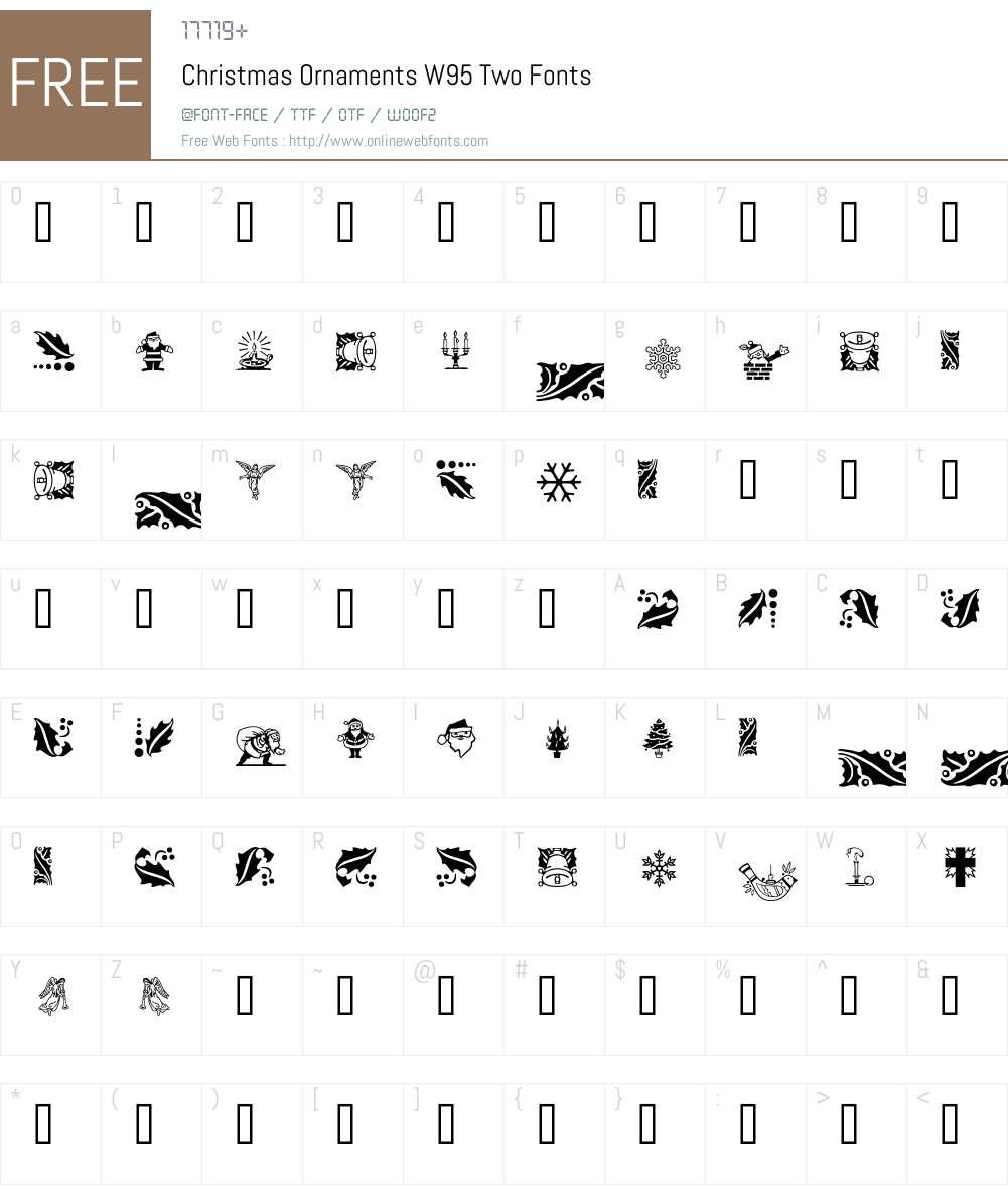 ChristmasOrnamentsW95-Two Font Screenshots