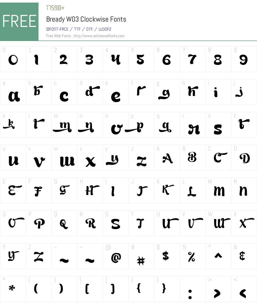 BreadyW03-Clockwise Font Screenshots