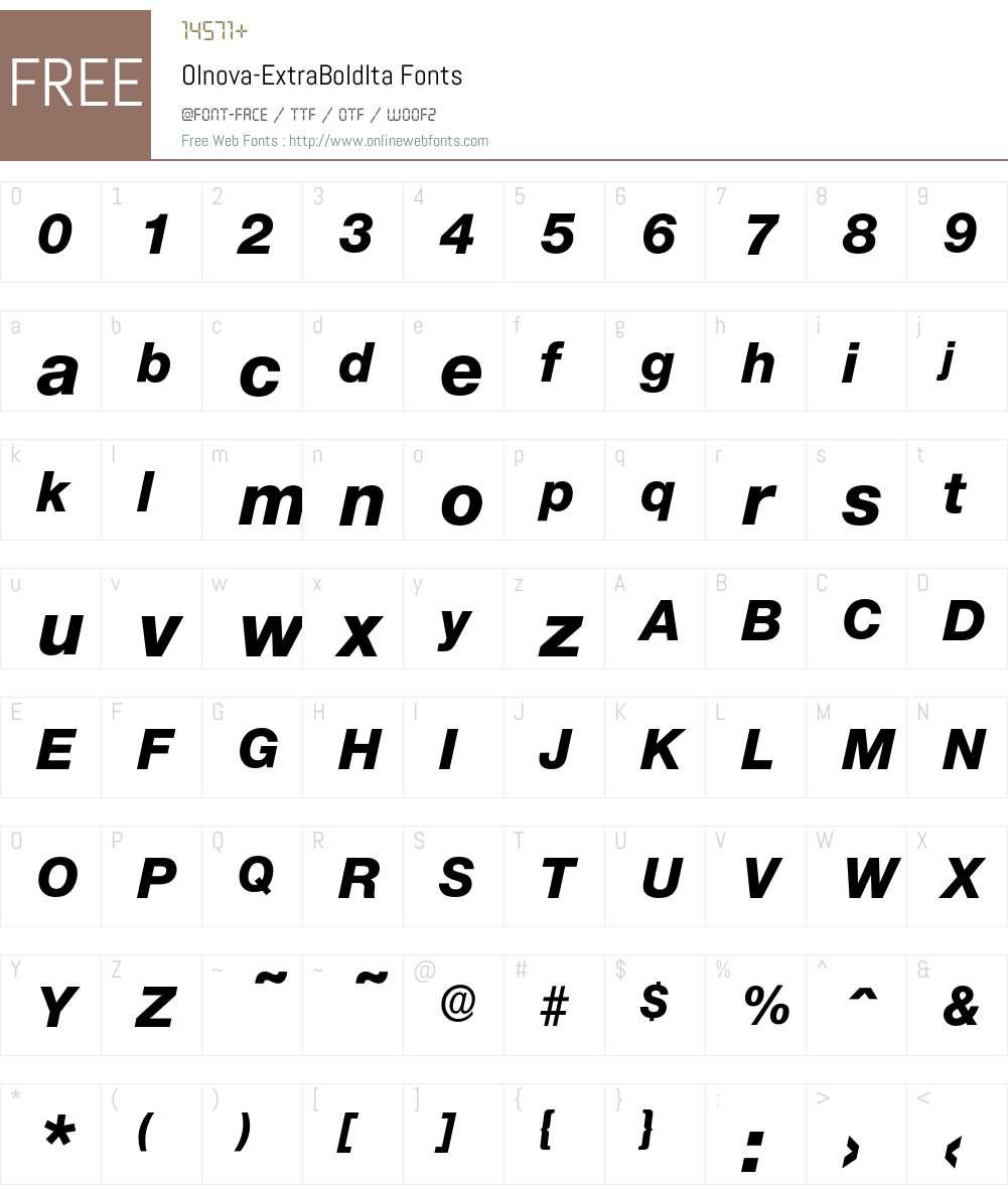 Olnova-ExtraBoldIta Font Screenshots