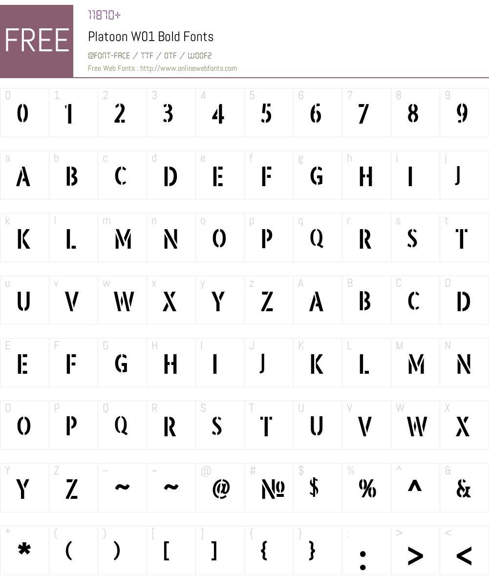 PlatoonW01-Bold Font Screenshots
