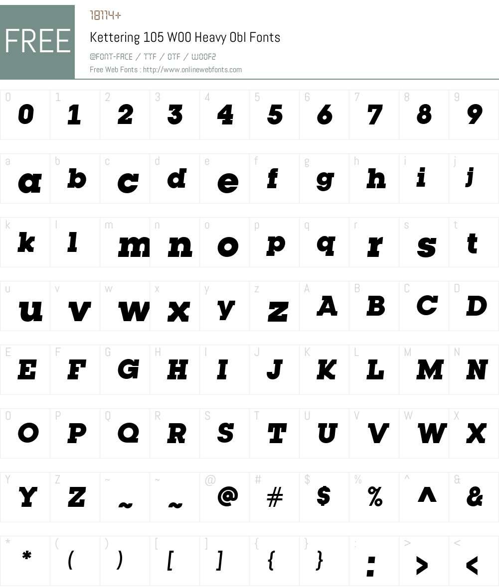 Kettering105W00-HeavyObl Font Screenshots