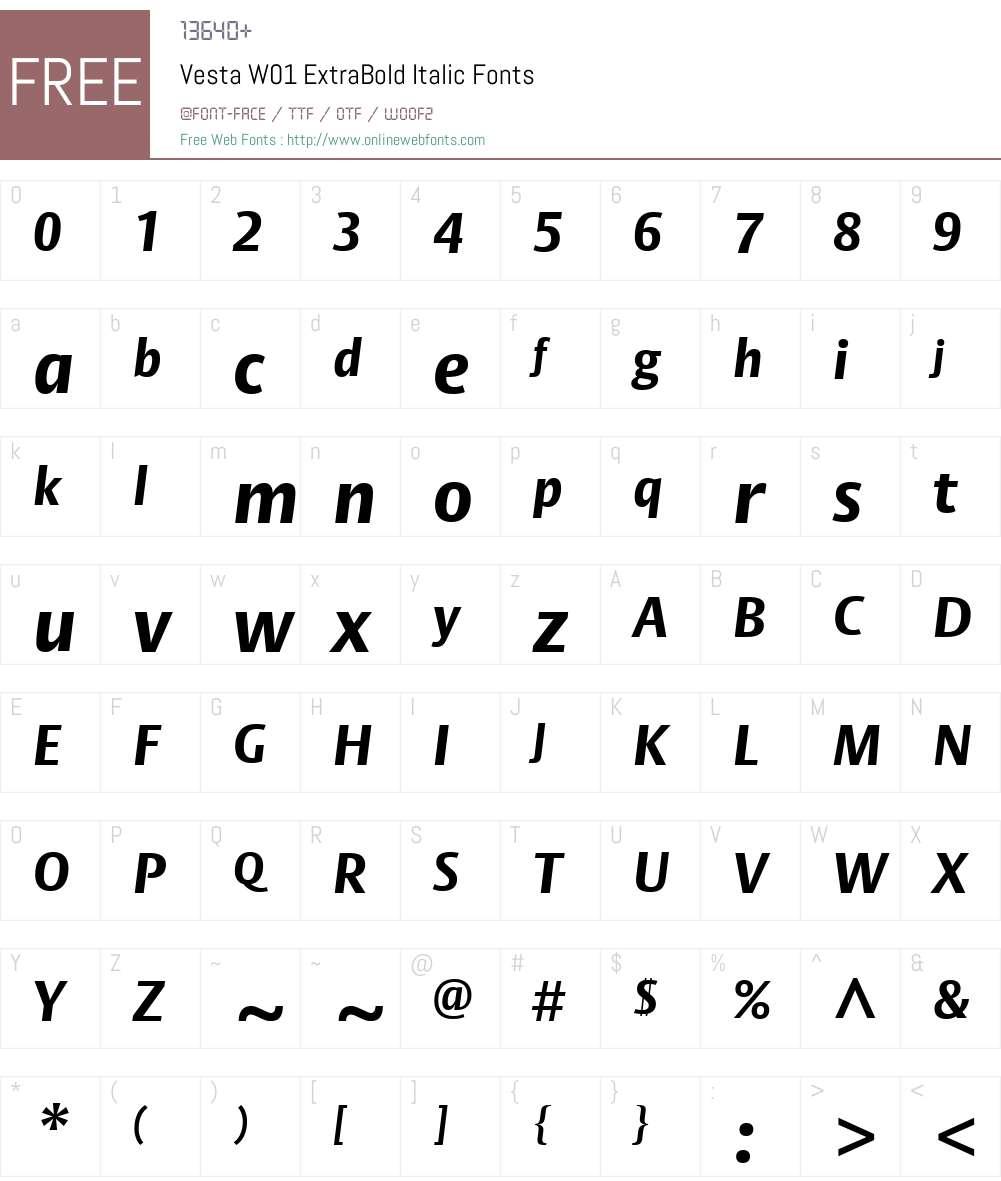 VestaW01-ExtraBoldItalic Font Screenshots