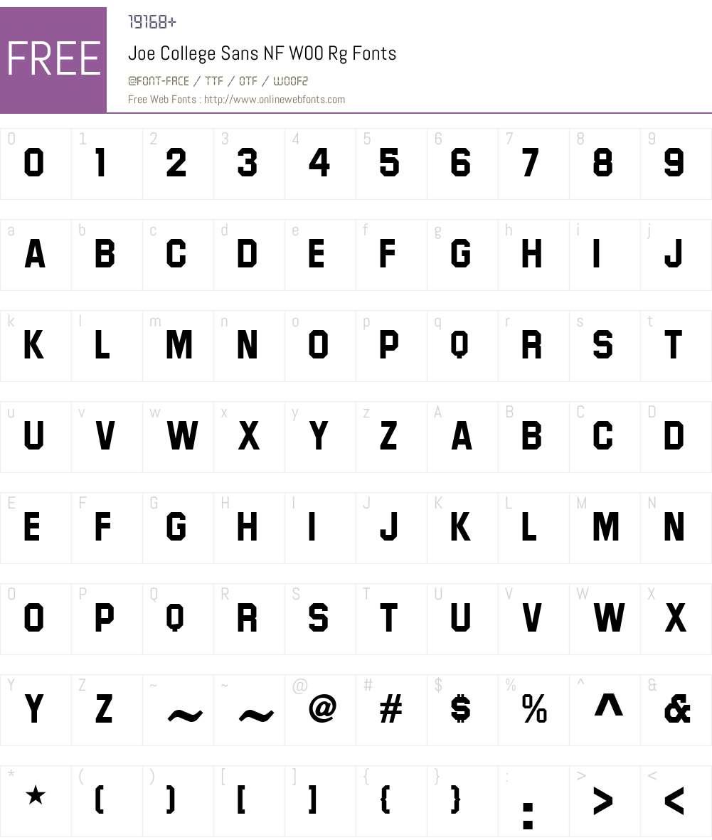 JoeCollegeSansNFW00-Regular Font Screenshots