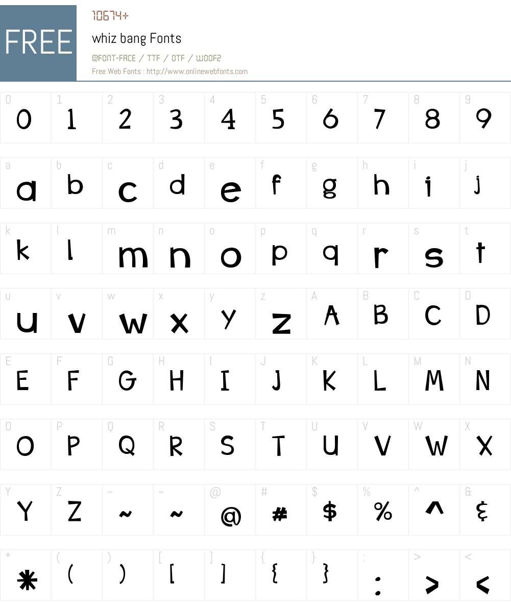 whiz bang Font Screenshots