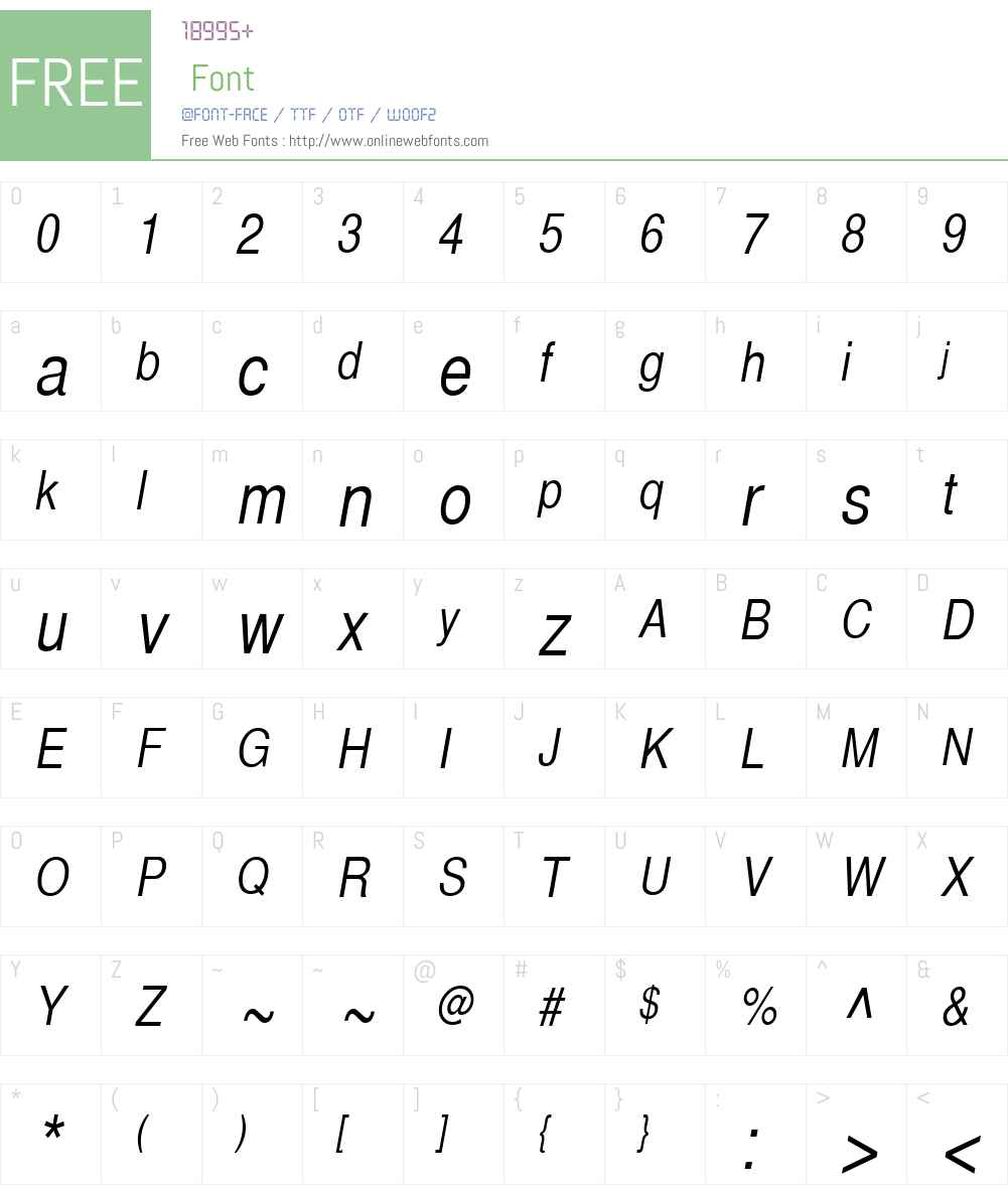 SansCond Font Screenshots