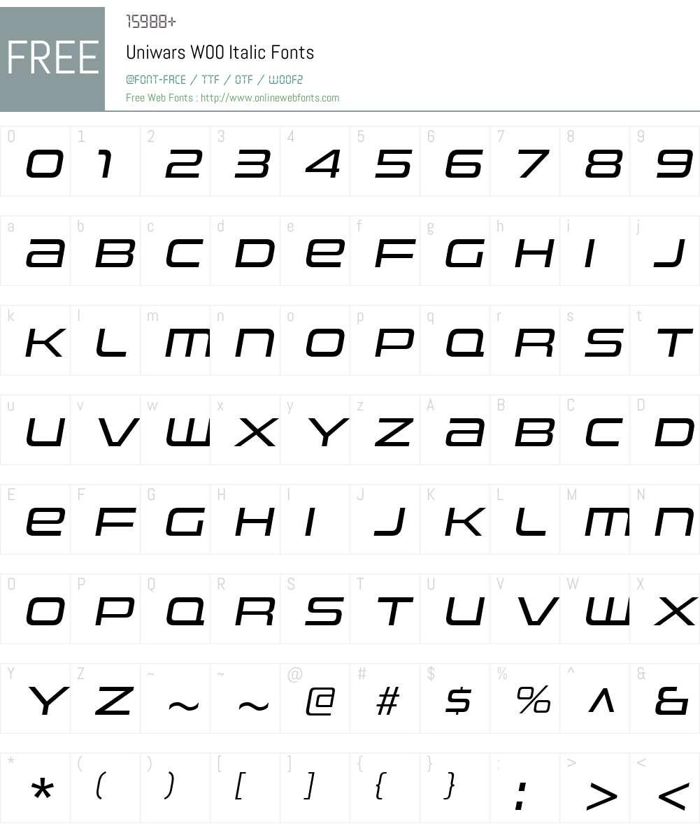 UniwarsW00-Italic Font Screenshots
