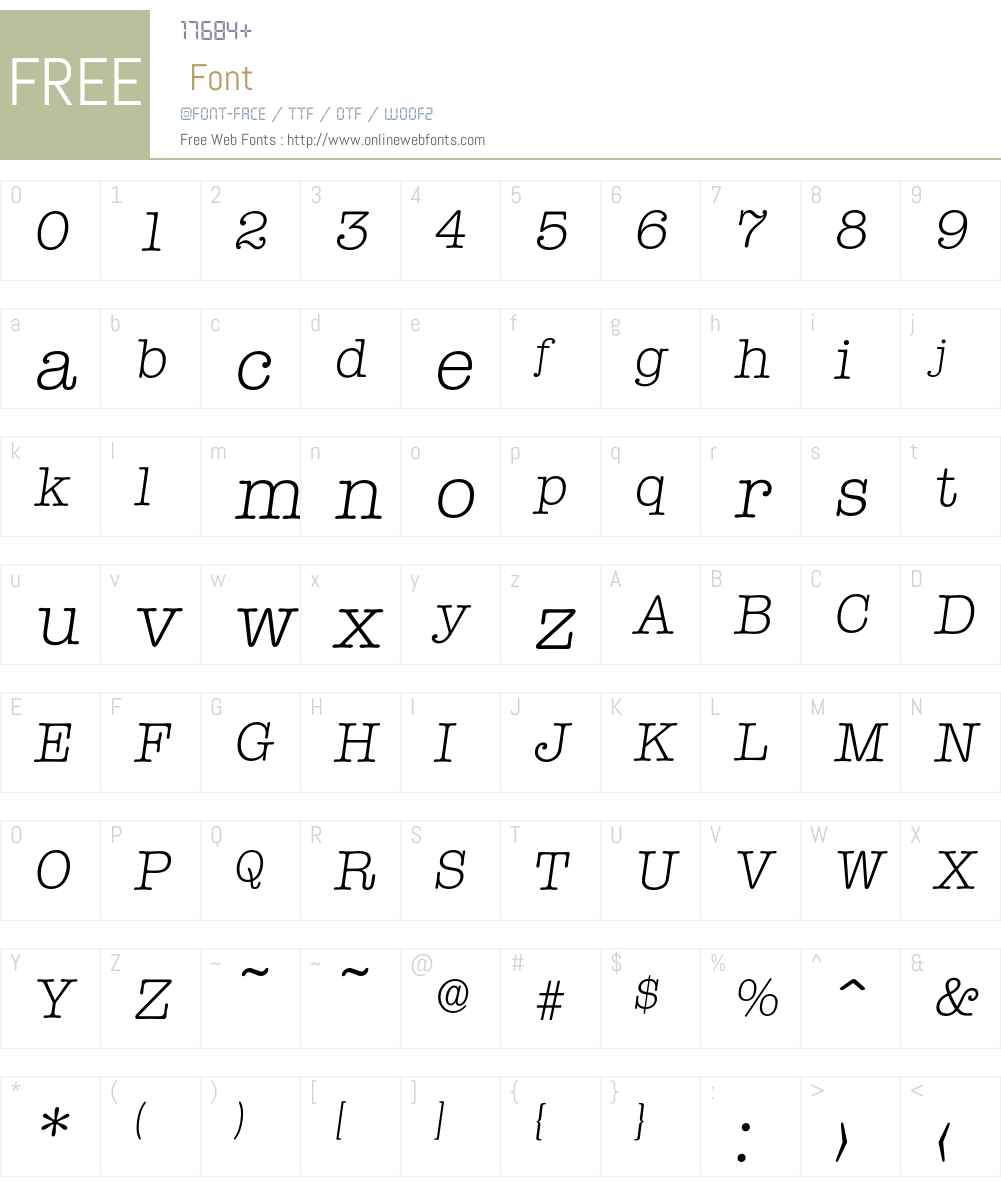 Typewriter-LightIta Font Screenshots