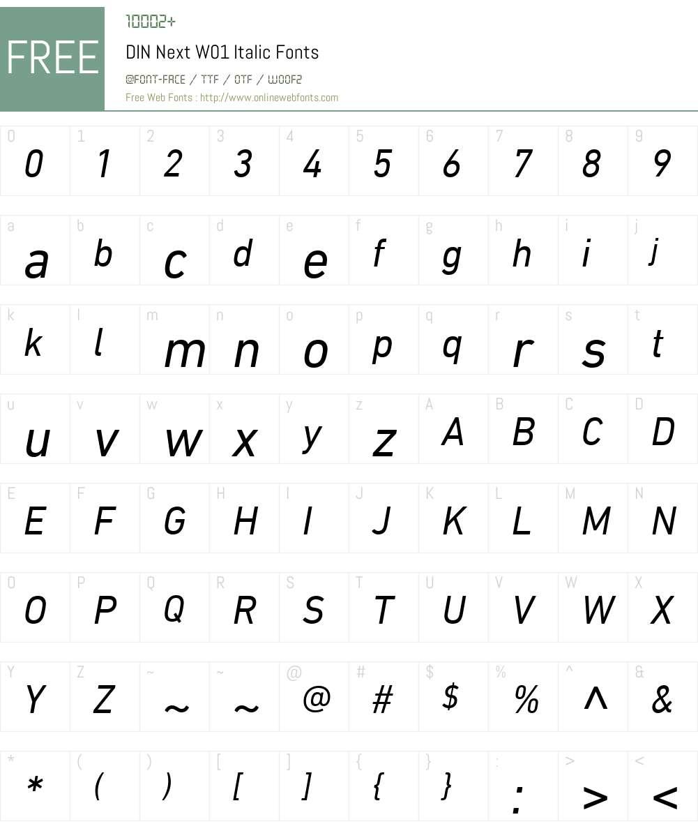 DINNextW01-Italic Font Screenshots