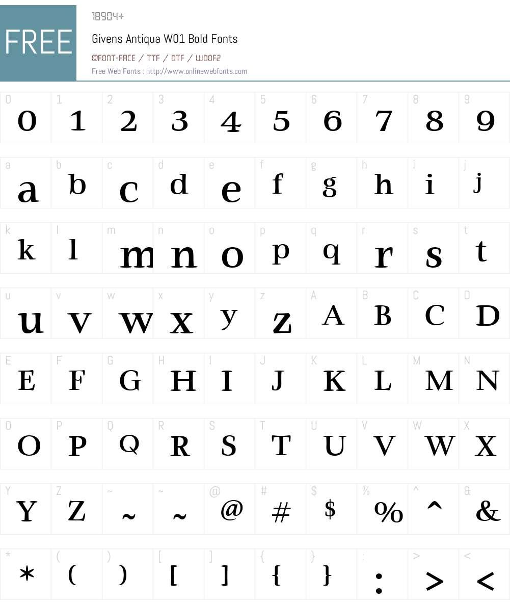 GivensAntiquaW01-Bold Font Screenshots